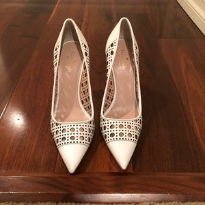 Classic white leather pumps